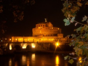 Strolling by the Castel Sant'Angelo after dinner